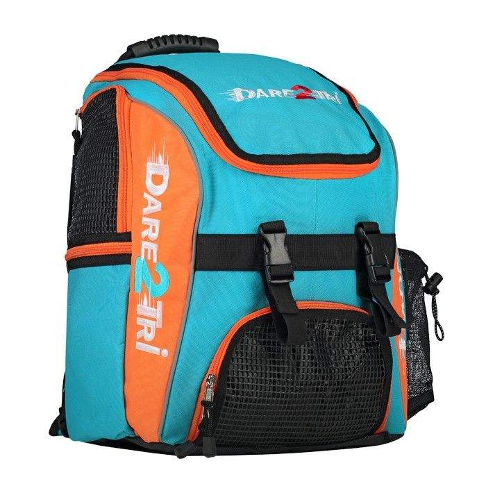 Dare2Tri Transition backpack. This popular Multi-functional backpack includes separate insulated compartments for holding all your race gear like shoes, goggles, helmet, water bottle, cell phone and other valuable equipment. In the special wet-pocket compartment you can store your wet clothing...