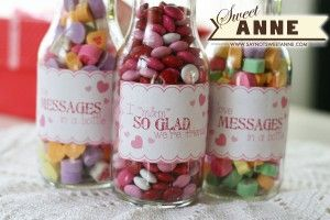 Free printable to make these sweet candy bottles from Sweet Anne designs