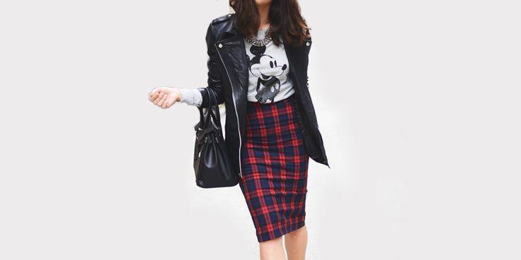 14 Outfits para combinar faldas coquetas con chamarras ajustadas