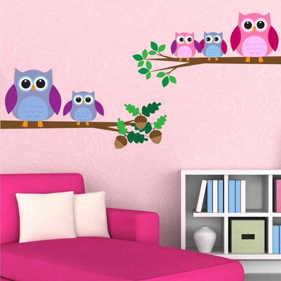 Full colour owls birds wall art sticker decal mural transfer childrens girls boys bedroom wall stickers