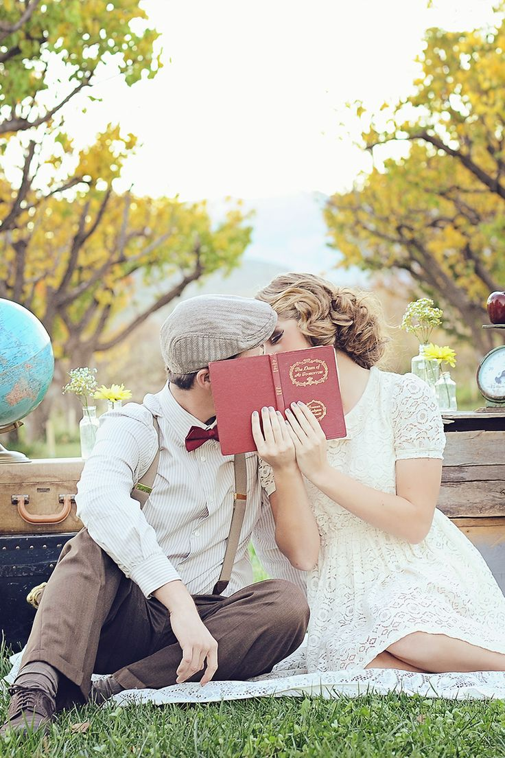nerdy yet vintage chic book engagement photo idea