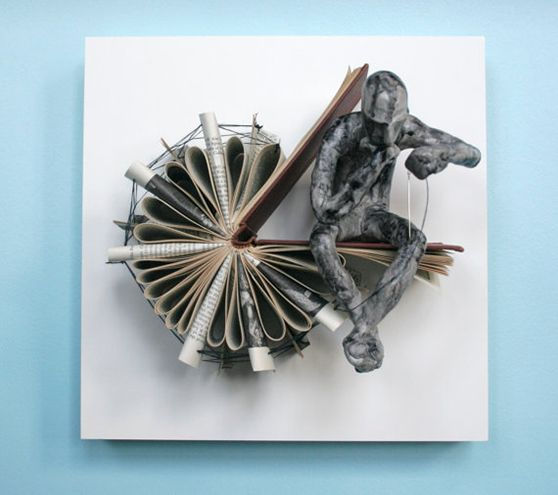 Thinker with Needle 15 Incredible Book Sculptures of Thinking Man