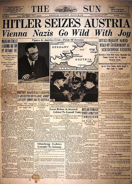 I wonder if anyone reading that newspaper on that day knew what the Anschluss really meant...