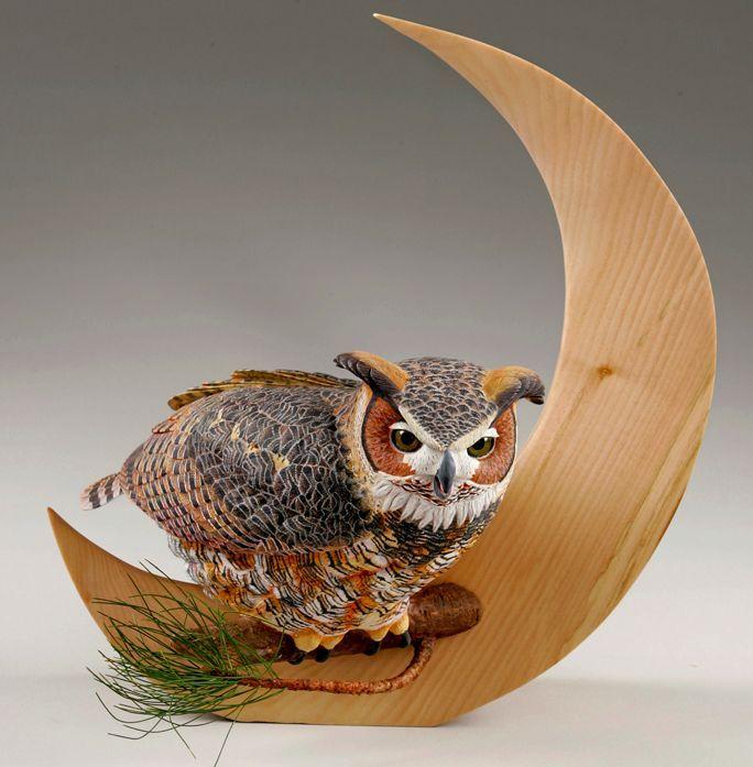 Owl sculpture amazing wood art pinterest
