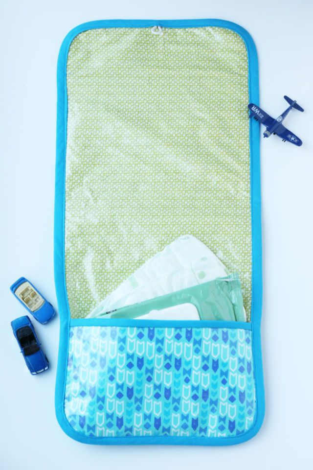 DIY changing pad and diaper clutch. A stylish project by See Kate Sew.