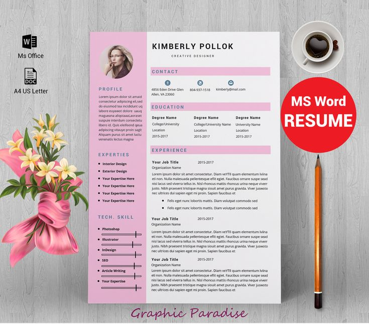 Resume template, Professional resume template instant download, resume template with cover letter, 3 page resume template, word resume