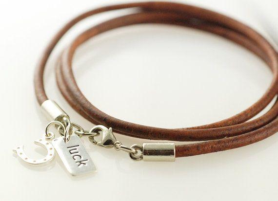 Womens leather bracelet wrap bracelet with silver by luckyhorn, $45.00