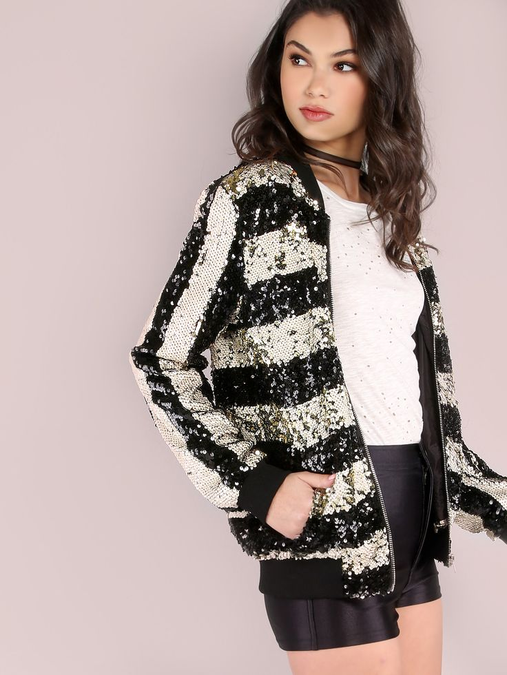 Shop Black And White Striped Zip Up Sequin Bomber Jacket online. SheIn offers Black And White Striped Zip Up Sequin Bomber Jacket & more to fit your fashionable needs.