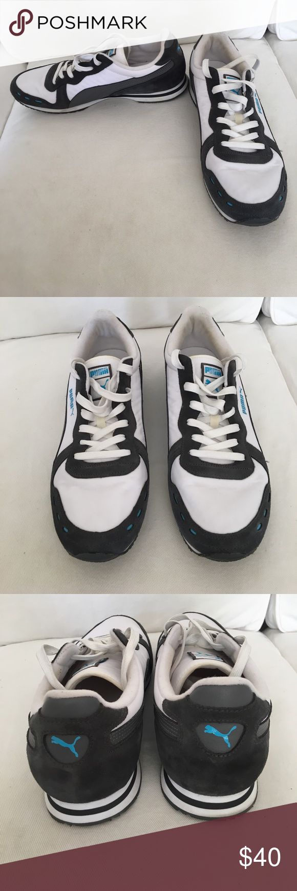 Men's puma sneakers Men's puma sneakers size 13. White with grey and blue. Only worn a few times and in good condition! Puma Shoes Sneakers