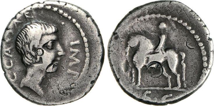 NumisBids: Numismatica Varesi s.a.s. Auction 65, Lot 134 : OTTAVIANO (43 a.C.) Denario. D/ Testa nuda R/ Statua equestre. ...