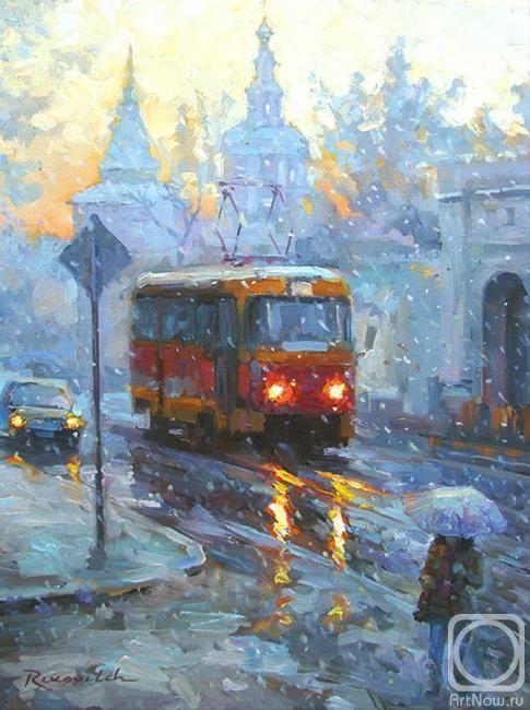 Волков Сергей. Москва. Трамвайчик, мокрый снег