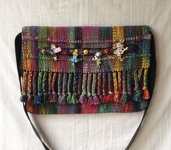 Handwoven Large Purse in Hand Dyed Silk and Cotton Yarns with Needle Felted Applique and Alice in Wonderland Wooden Pins