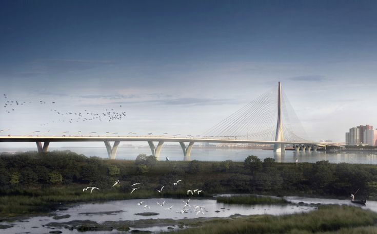 The 3,018-foot-long, cable-stayed Danjiang Bridge, designed by the late Zaha Hadid, will cross the Tamsui River in Taipei, Taiwan. When completed in 2020, the structure will be the longest asymmetrical cable-stayed bridge in the world.