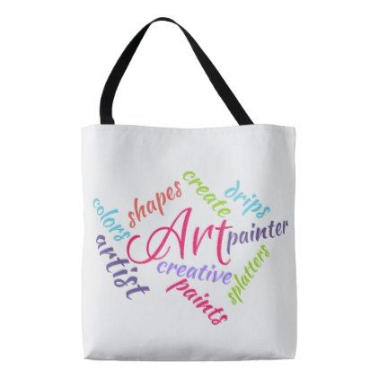 Art Typography Abstract Word Cloud Colorful Text Tote Bag - cyo diy customize unique design gift idea