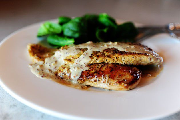 chicken with mustard cream sauce. Use broth instead of wine. Can use cream for deeper flavor and thin pork chops.