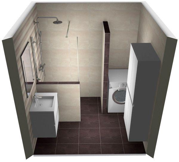 Ontwerp voor een kleine badkamer met wasmachine. Meer kleine badkamer voorbeelden op http://www.kleinebadkamers.nl