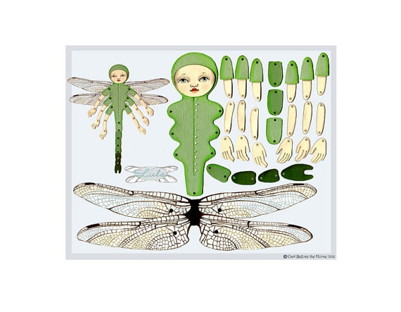 Lula Dragonfly DIY Articulated Paper Doll by cartbeforethehorse, $12.00