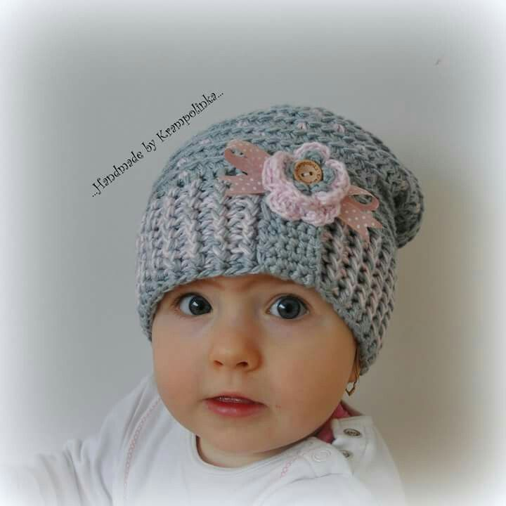 Crochet grey slouchy girl hat with pink dots