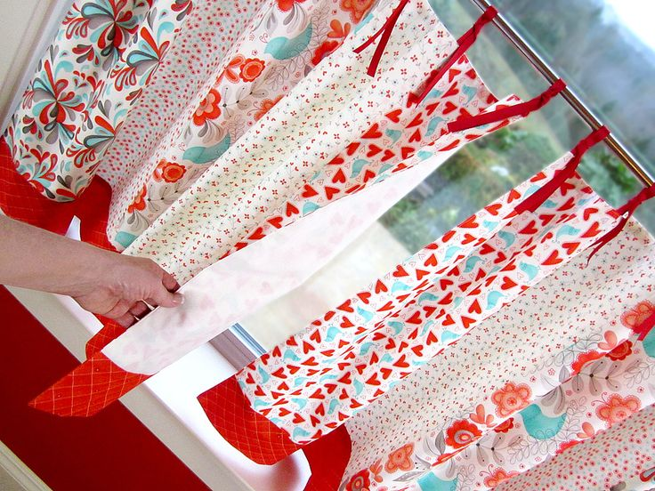 Ribbon Tie Cafe Curtains In Flirt By Moda Fabrics | Sew4Home | Kitchen |  Pinterest | Cafe Curtains And Cafes