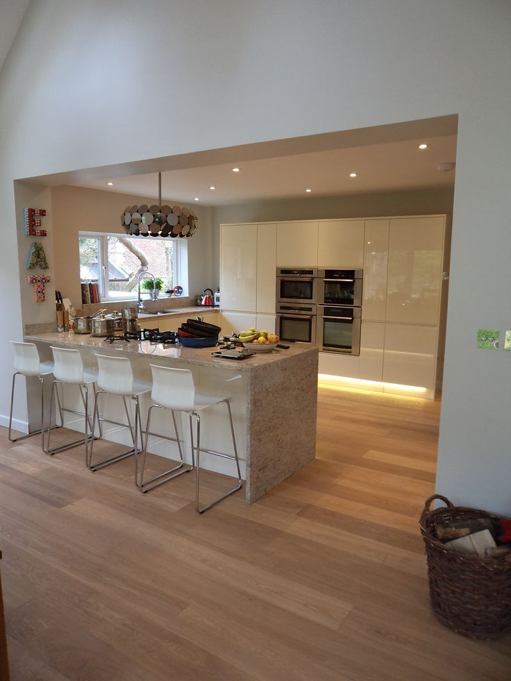 Image result for open plan white kitchen diner