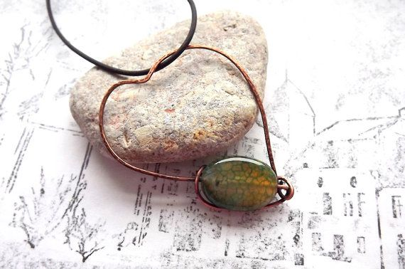 Copper pendant. Copper heart. Heart with agate. by AcoyaJewellery