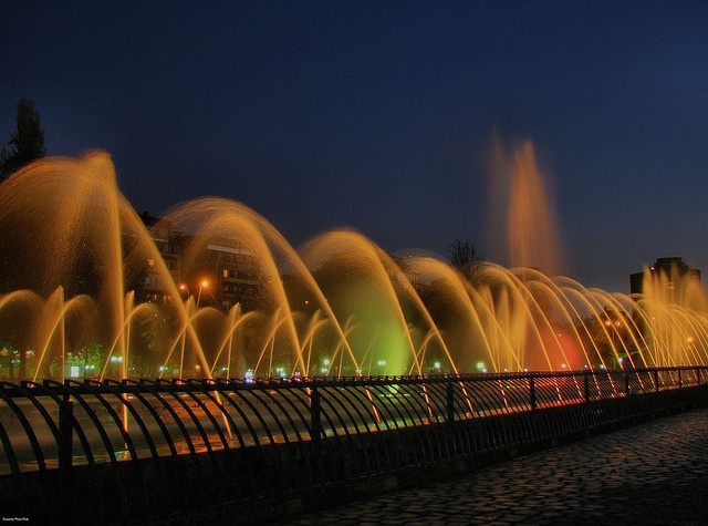 colorful fountain display in Providencia, Santiago, Chile