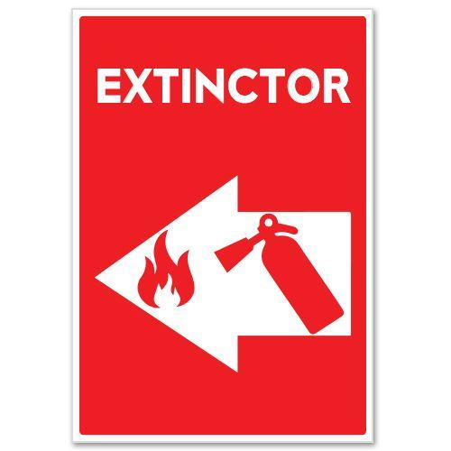 Autocolant Extinctor (in caz de incendiu)    Autocolant care indica prin sageata (sus, jos, dreapta, stanga) locul unde se afla EXTINCTORUL ce trebuie folosit in caz de incendiu. Poate fi utilizat pentru ambele fete ale geamului sau ale altor suprafete.  Alegeti dimensiunea dorita:20 x 14 cm sau 13 x 9 cm