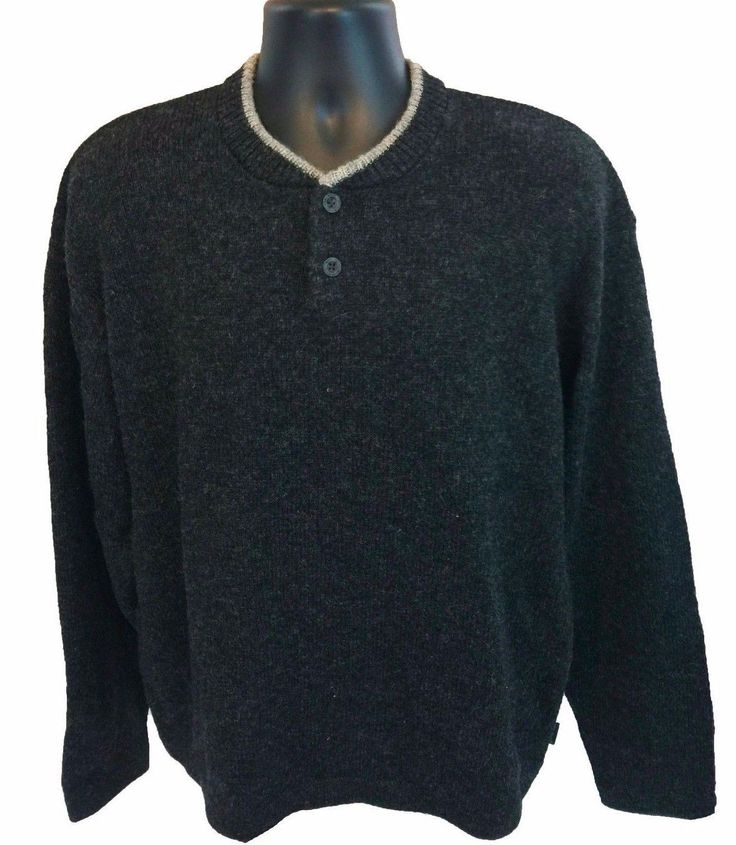 WOOLRICH Men's Henley Sweater Size XL Gray Wool Blend Long Sleeve X-Large
