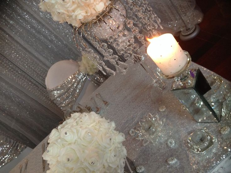 Mirrored candleholders, and silver, White and ivory
