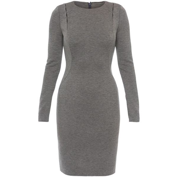 Elie Tahari Cailyn Grey Plush Knit Dress ($278) ❤ liked on Polyvore featuring dresses, charcoal, elie tahari dresses, gray formal dress, formal dresses, charcoal gray dress and sleeved dresses