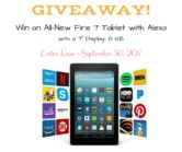 All New Kindle Fire 7 Tablet Giveaway  Open to: United States Canada Ending on: 09/30/2017 Enter for a chance to win an all-new Fire 7 Tablet with Alexa a 7 display and 8GB of memory. More durable battery than the latest iPad. Enter this Giveaway at Homemade for Elle  Enter the All New Kindle Fire 7 Tablet Giveaway on Giveaway Promote.