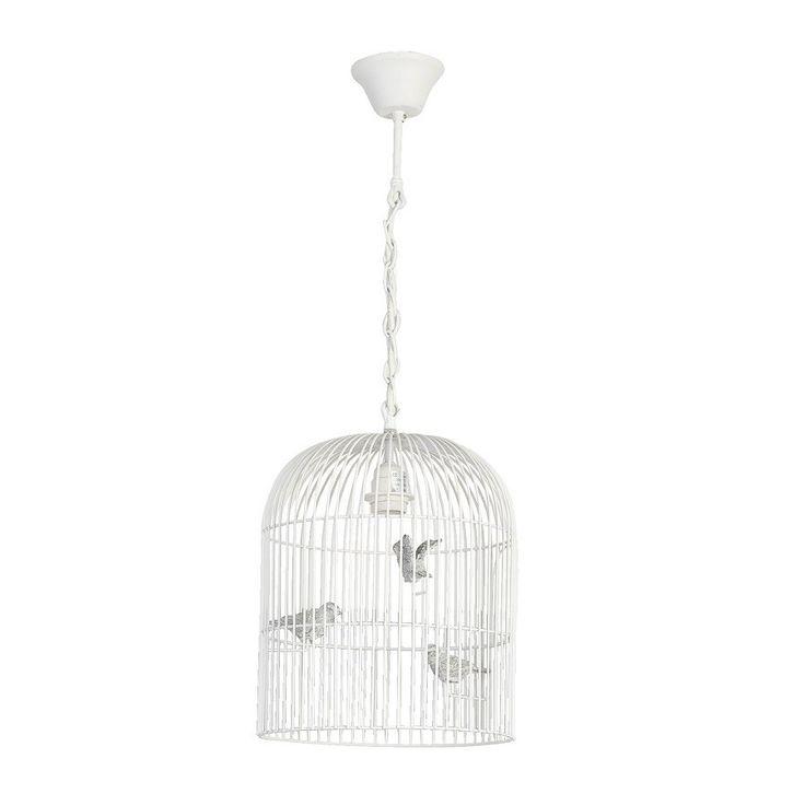 Stylowa lampa prowansalska, wykonana na kształt klatki. Sprawia niesamowite wrażenie prawdziwej klatki, dzięki dekoracyjnym ptakom w jej środku.