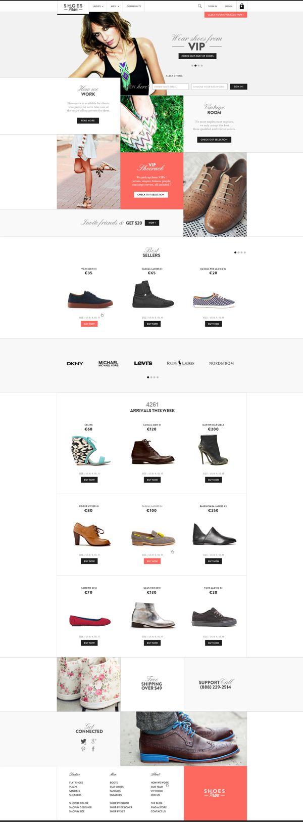 Web | Shoesprive Concept by Thomas Le Corre, via Behance, #webdesign #ui #flat