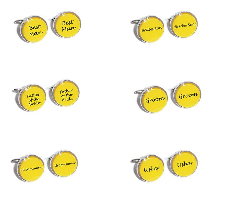 Yellow #wedding cufflinks - inserts #engraved with #groom, best man, usher, uncle,  View more on the LINK: 	http://www.zeppy.io/product/gb/2/151603749264/