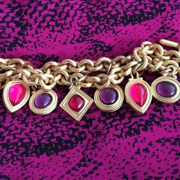 Pretty Monet bracelet Gold vintage Monet bracelet with purple and pink stones Monet Jewelry Bracelets