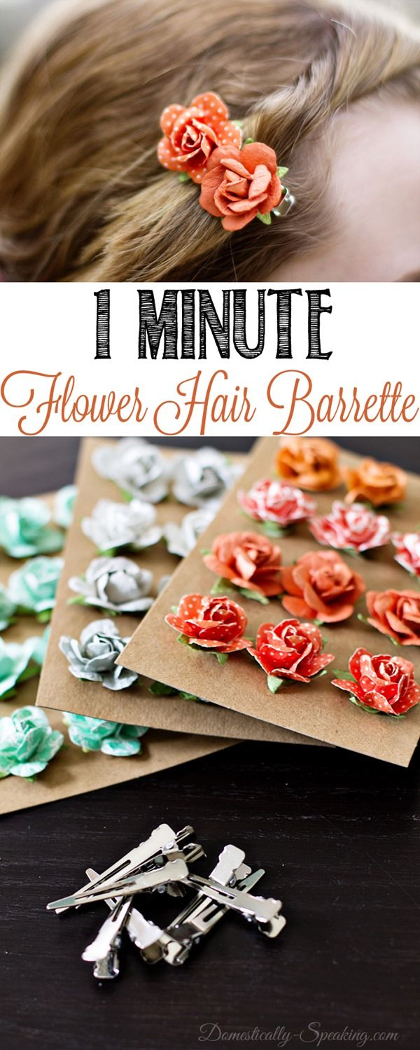 1 Minute Flower Hair Barrettes  So easy and so cute.. click to see how or pin for later!
