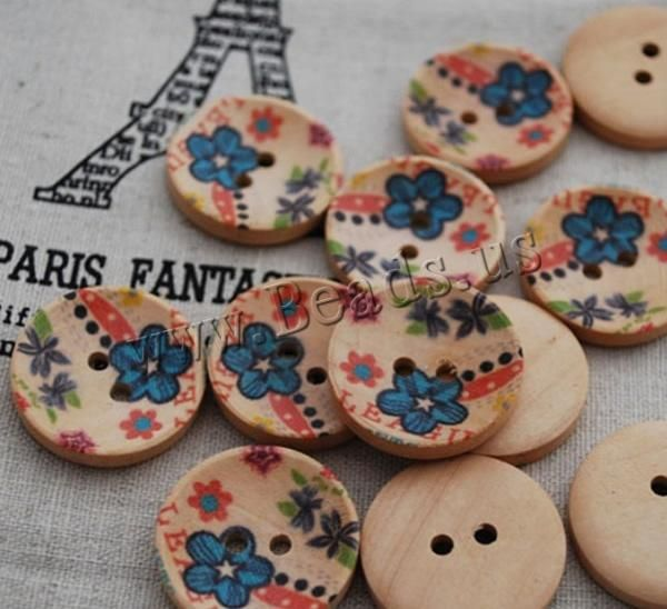 Wood Button, Flat Round, brushwork, 2-hole & with flower pattern