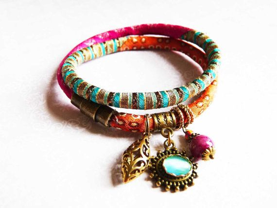 pure silk brocade wrap bracelet orange pink emarald by ellivira, $38.00