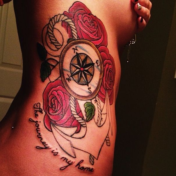 Great Beautiful Anchor With Roses Tattoo On Ribs ~ Anchor Tattoo Ideas