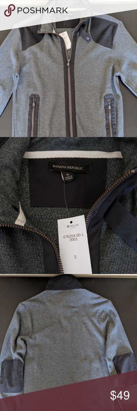Men's Zip Cardigan Lightweight with microfiber type patches on shoulder and elbow (also the trim on the pockets,  zipper and collar) Banana Republic Sweaters Zip Up