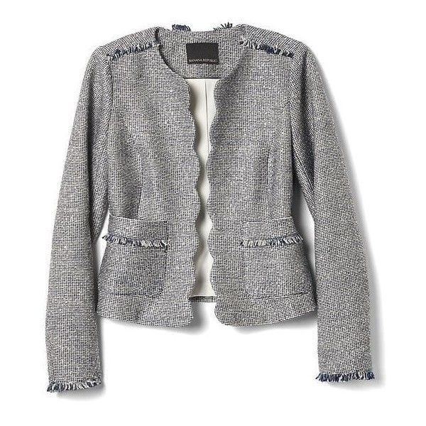 Scalloped Tweed Collarless Jacket | Banana Republic ❤ liked on Polyvore featuring outerwear, jackets, collarless tweed jacket, tweed jacket, banana republic, collarless jackets and banana republic jacket