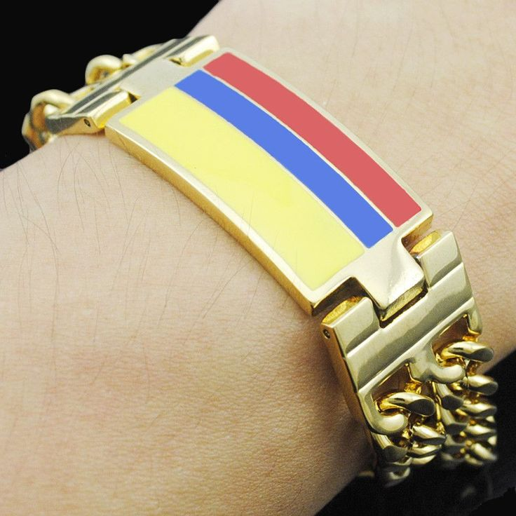 Colombian flag Bracelets 316L Stainless Steel ID Chain High Polished Gold Plated Man Top Quality Bangle BB627