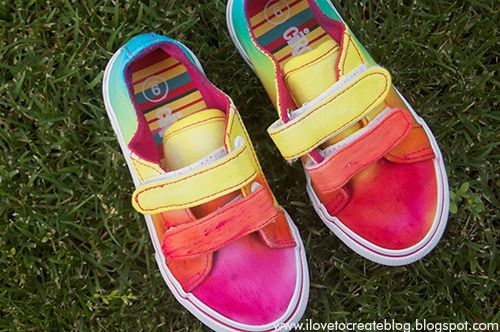 iLoveToCreate Blog: How to make Rainbow Tie Dye/Dip Dye Shoes (canvas). You can also dilute the dye and dip the shoes. After dipping, dye can be added by dabbing with a paint brush. If colors are blotchy, dab with a brush dipped in water. They all say the soles do not dye. If they do, you can paint the soles with white Angelus leather paint. myb