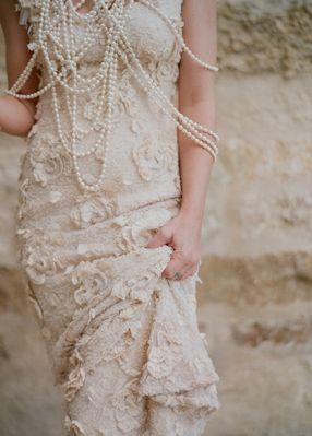 vintage , dresses, gorgeous, golden, wedding, pearls