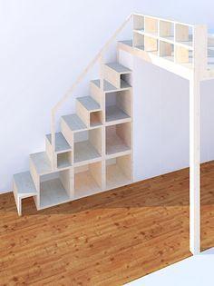 Regal und Treppe für Hochebene und Hochbett – neubauen.design – Christ Stein