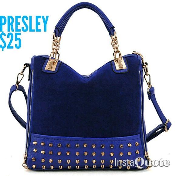 Presley Shoulder tote. Rivets. Crossbody capability.  Comes in black & blue. Bags