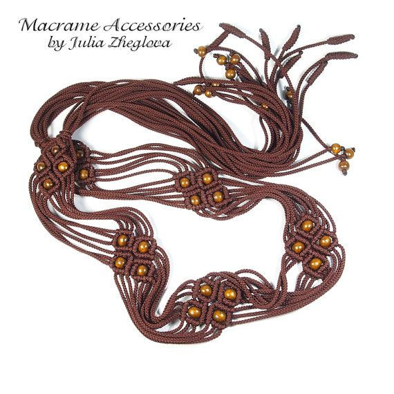 Macrame Brown Belt with tassels and wooden beads lace by makrame, $30.00