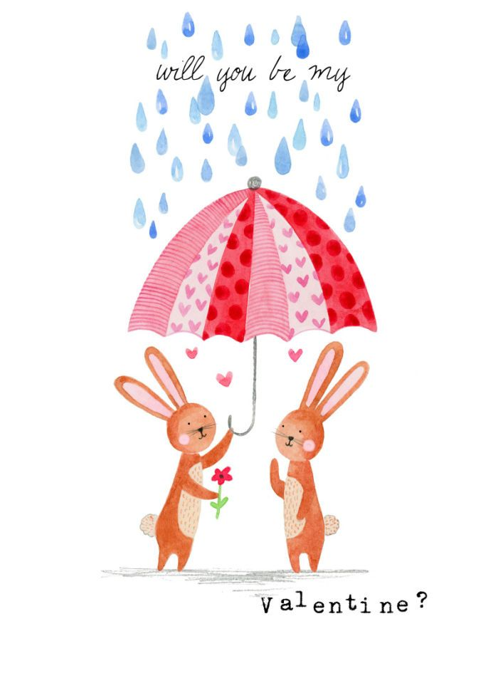 Felicity French - Felicity French Valentines Bunnies Under Umbrella