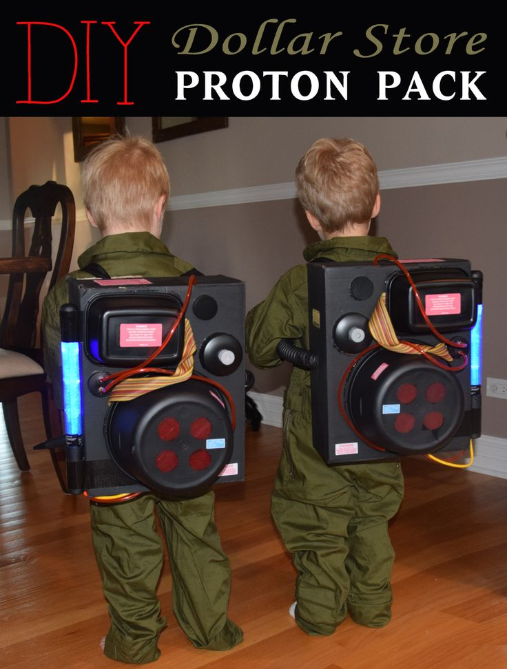 DIY Dollar Store Proton Pack and Ghostbusters Halloween Costume for Toddler Twins