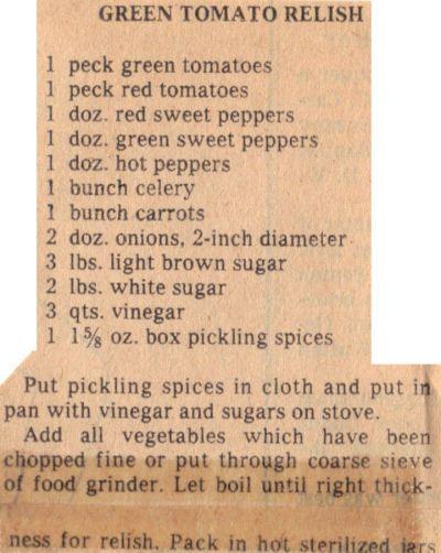 Canning Recipe For Green Tomato Relish – Vintage | RecipeCurio.com